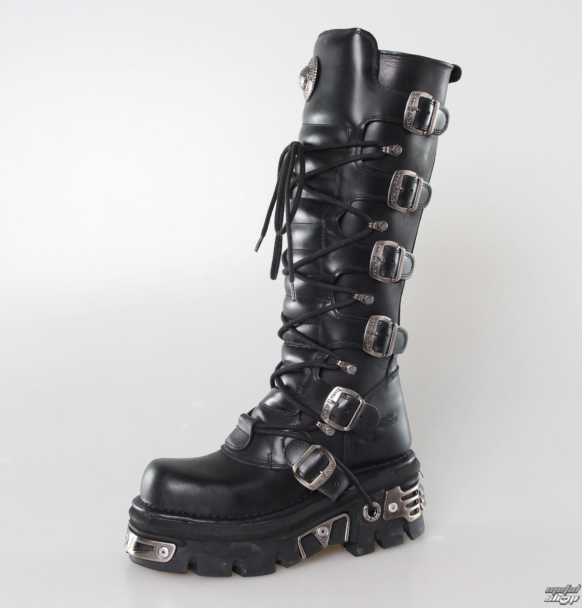 Boots Leather   6 Buckle Boots (272 S1) Black   NEW ROCK