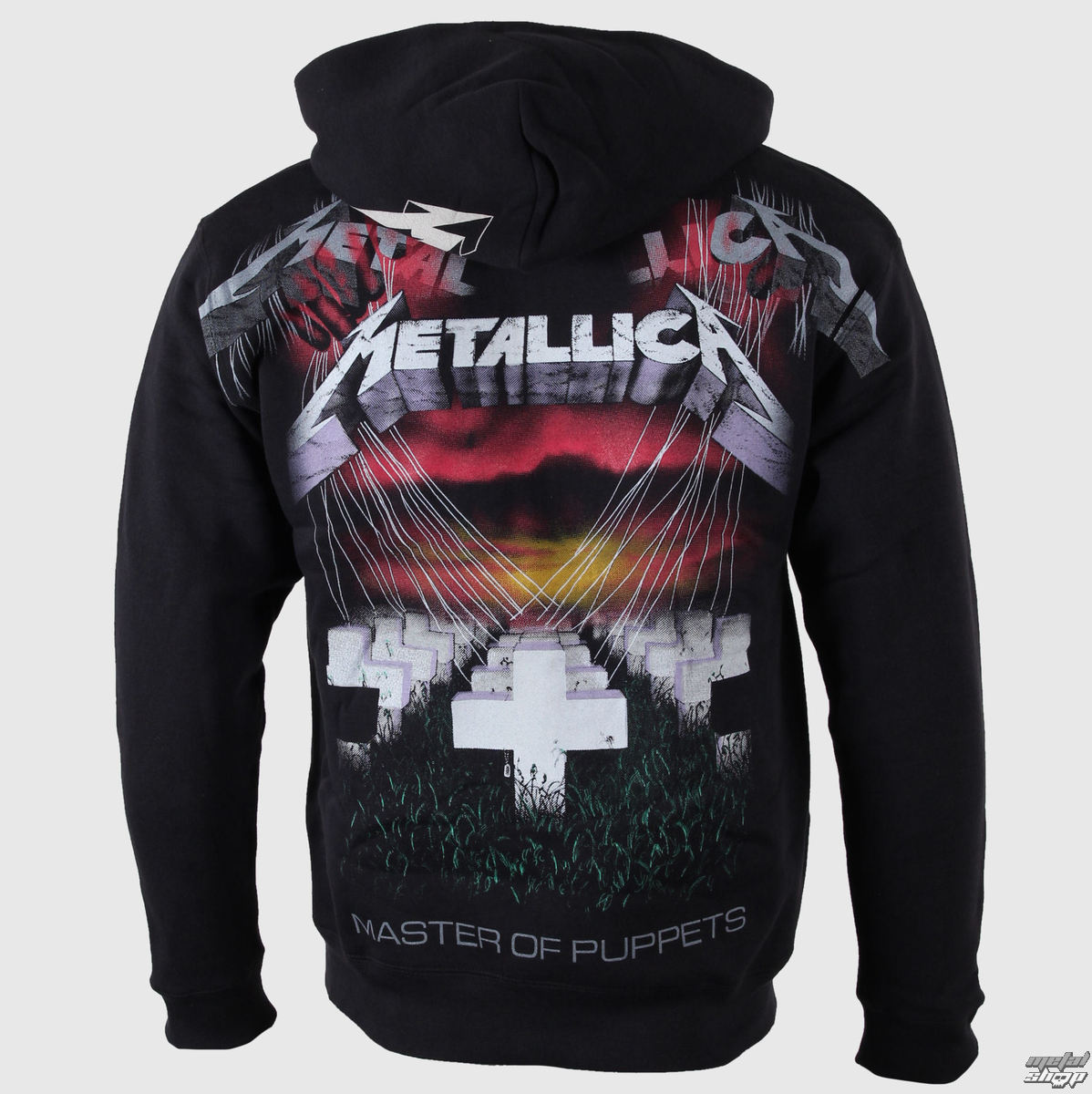 Metallica Hoodie Master of Puppets Zipped Hooded Top Official Black Mens Band
