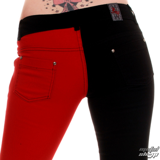 pants women 3RDAND56th - Split Leg Skinny Jeans - Black / Red