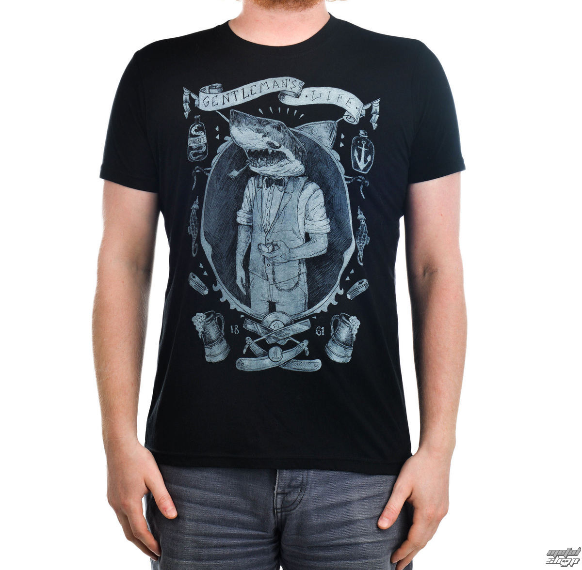 t-shirt gothic and punk men's - Gentleman Shark - TOO FAST