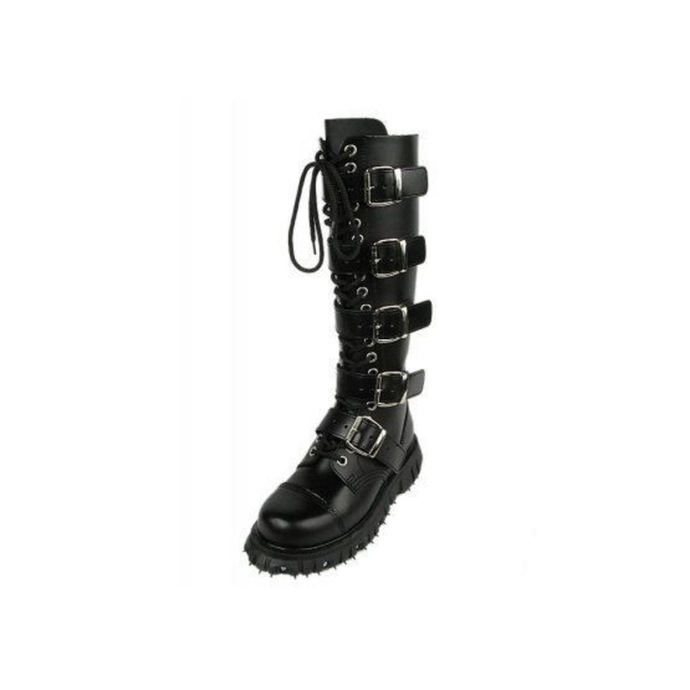 leather boots women's - 5-buckles leder - BONDAGE LONDON - ČERNÉ