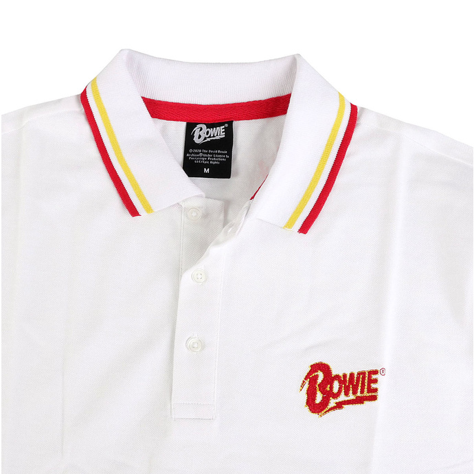 Men's t-shirt David Bowie - Flash - Logo Uni - WHT Polo - ROCK OFF