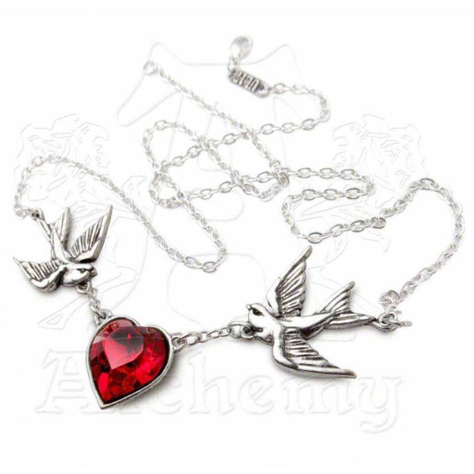 necklace Swallow Heart Pendant - ALCHEMY GOTHIC