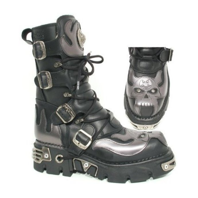 boots leather - Vampire Boots (107-S2) Black-Grey - NEW ROCK