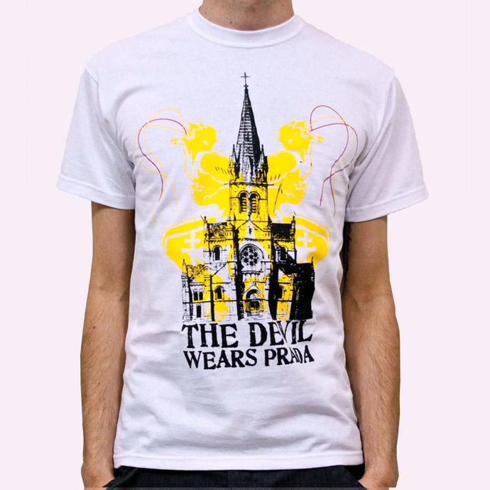 t-shirt metal men's Devil Wears Prada - Church - KINGS ROAD - White
