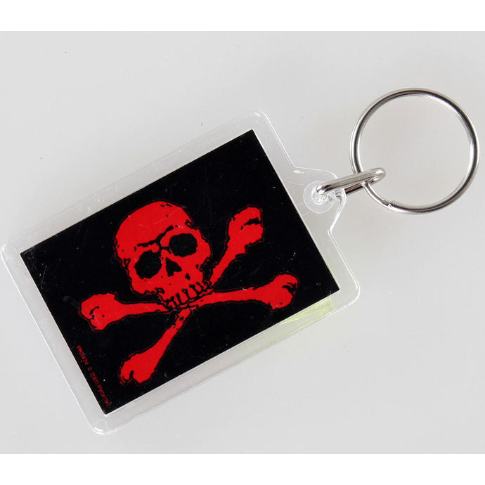key ring (pendant) Skull and Crossbones - Red - PYRAMID POSTERS