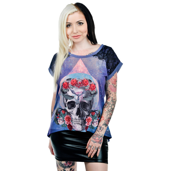 t-shirt gothic and punk women's - Purple - TOO FAST