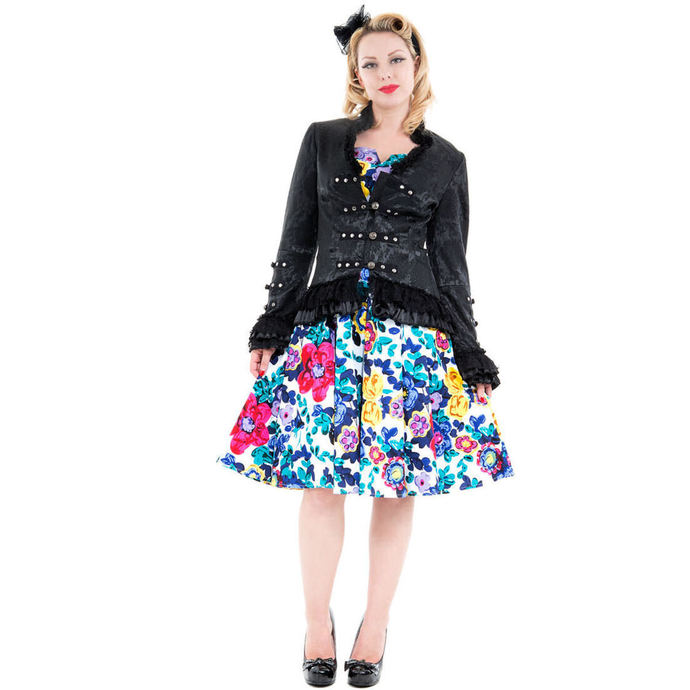 jacket women's spring/fall HEARTS AND ROSES - Black Victorian Brocade