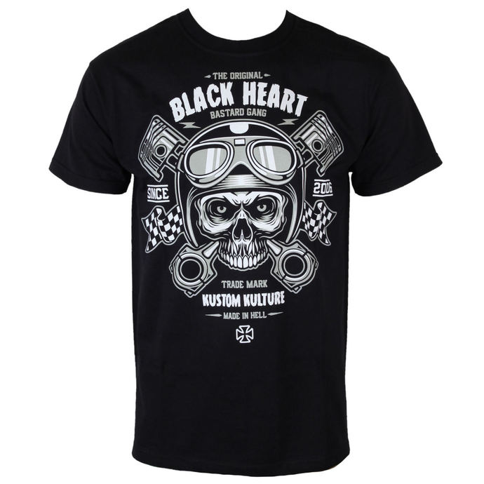 t-shirt street men's - Piston Skull - BLACK HEART