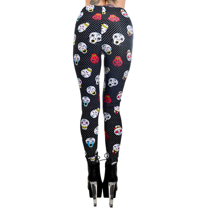Women's pants (leggings) TOO FAST - SUGAR SKULL EMOJI