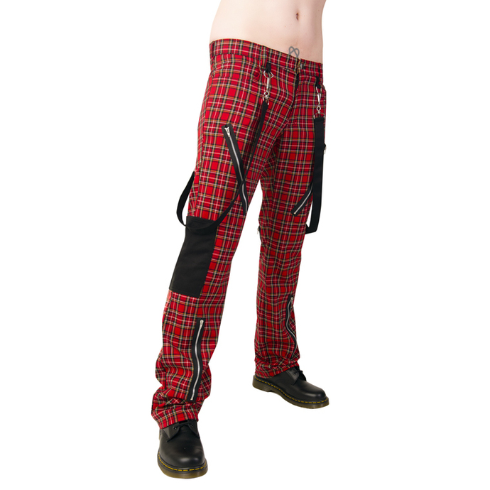 pants Black Pistol - Punk Pants Tartan Red-Green