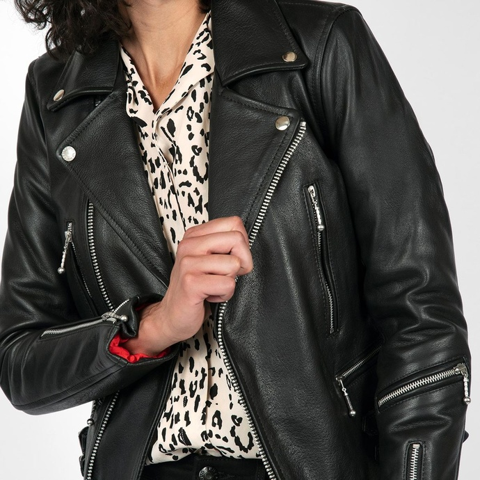 Women's leather jacket  STRAIGHT TO HELL - Defector Blk Nick