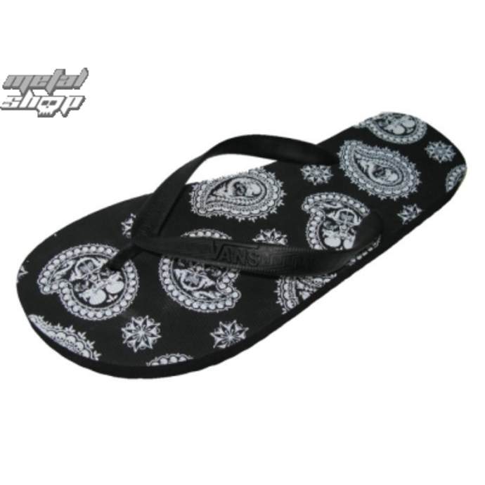 sandals VANS - Keel Print - Black/White Paisley Skulls