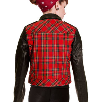 spring/fall jacket women's - Red Tartan Faux Leather - BANNED - JBN608