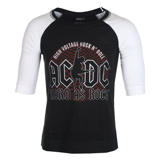 Unisex t-shirt with 3/4 sleeves AC / DC - Hard As Rock - BL / WHT Raglan - ROCK OFF, ROCK OFF, AC-DC