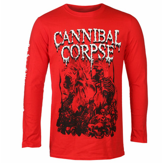 Men's t-shirt with long sleeves CANNIBAL CORPSE - PILE OF SKULLS - RED - PLASTIC HEAD, PLASTIC HEAD, Cannibal Corpse