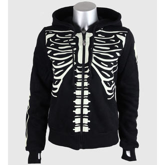 hoodie women's BANNED - Glow In The Dark Skeleton - Black - HBN017