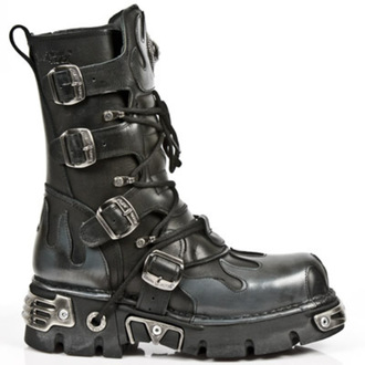 boots leather - Flame Boots (591-S2) Black-Grey - NEW ROCK - M.591-S2