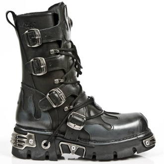 boots leather - Flame Boots (591-S2) Black-Grey - NEW ROCK