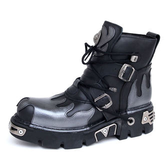 boots leather - Flame Shoes (288-S2) Black-Grey - NEW ROCK