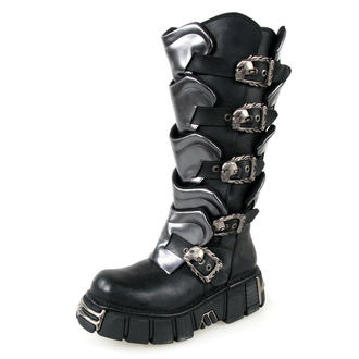 boots leather - Gladiator Boots (738-S1) Black-Grey - NEW ROCK - M.738-S1