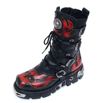 boots leather - Vampire Boots (107-S1) Black-Orange - NEW ROCK