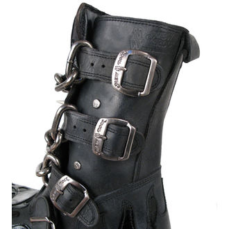 boots leather - Chain Boots (727-S1) Black - NEW ROCK