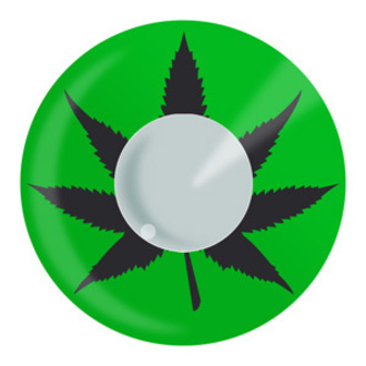 set contact lenses GREEN CANNABIS LEAF a disinfecting set - EDIT