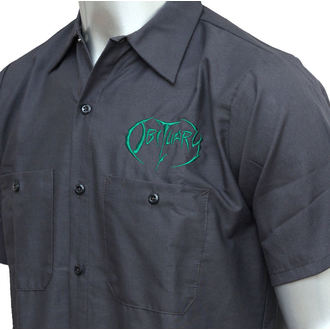 shirt men Obituary - EMB Logo - GRN / Charcoal - JSR - OBT147
