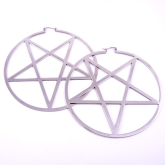 earrings KILLSTAR - Pentagram Hoop - Silver