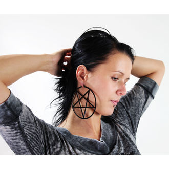 earrings KILLSTAR - Pentagram Hoop - Black