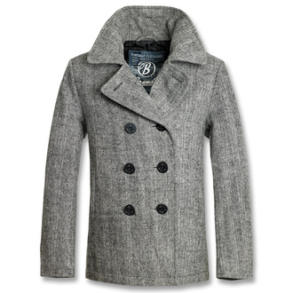 jacket men winter (COAT) BRANDIT - Pea Coat Anthracite Heringbon - 3109/8