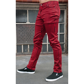 pants men 3RDAND56th - Striped Skinny Jeans - Black / Red - JM1176
