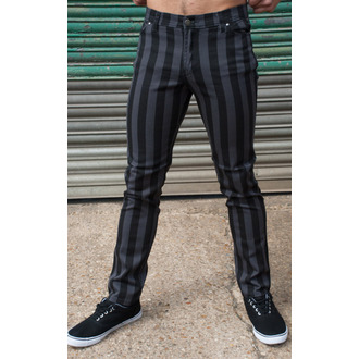 pants men 3RDAND56th - Stripe Skinny - Black / Grey - JM1105