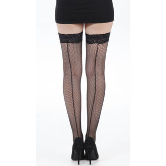 knee high socks PAMELA MANN - Fishnet Seamed Lace Top Hold Up - Black - 026
