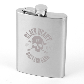 hip flask BLACK HEART - Skull - Black