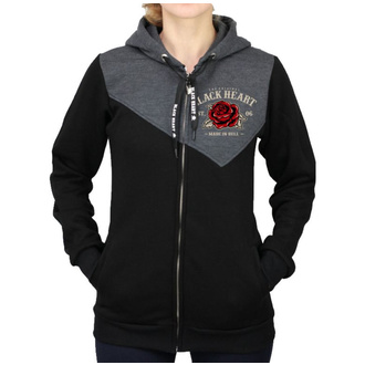 hoodie women's - PIN UP SKULL RG - BLACK HEART, BLACK HEART