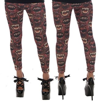 pants women (leggings) KREEPSVILLE SIX SIX SIX - Monster Mouth - Red, KREEPSVILLE SIX SIX SIX