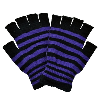 gloves fingerless POIZEN INDUSTRIES - Stripe - Black / Purple