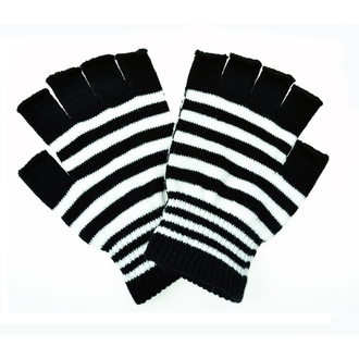 gloves fingerless POIZEN INDUSTRIES - Stripe - Black / White
