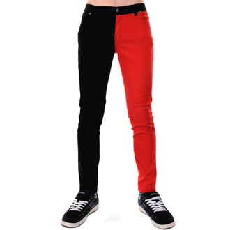pants men 3RDAND56th - Split Leg Skinny - Black / Red - JM1249