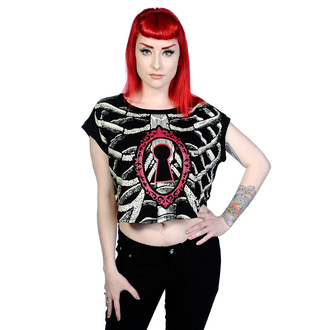t-shirt women's - Ribcage With Key Hole Black - BANNED - OBN138BLK
