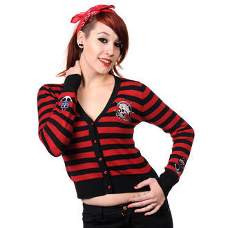 sweater women's BANNED - Sailor Skull Striped - Black / Red - CBN307BLK