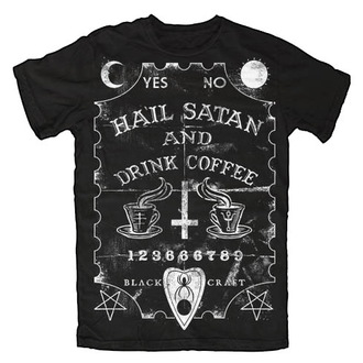 t-shirt men's women's unisex - Hail Satan & Drink Coffee - BLACK CRAFT - MT014HE