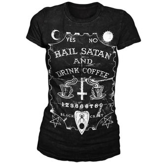 t-shirt men's women's unisex - Hail Satan & Drink Coffee - BLACK CRAFT - WT001HE
