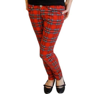 pants women HELL BUNNY - TARTAN PRINTED TROUSERS - 5123 - TAR