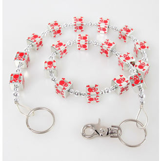 chain Squares - Skull - Silver / Red