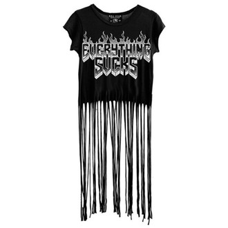 t-shirt women's - Everything Sucks Fringe - KILLSTAR - Black