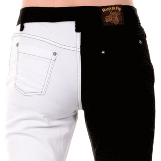 pants men 3RDAND56th - Split Leg Skinny - Black / white - JM1249
