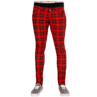 pants (unisex) 3RDAND56th - Checked - Black / Red, 3RDAND56th